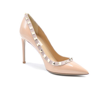 Valentino Classic Rockstud Patent Leather Gold-tone Studs Nude Pumps