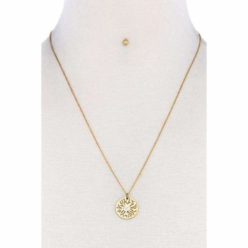 Trendy Brass Tree Pendant Necklace And Earring Set