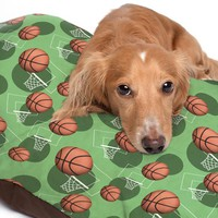 Green Basketball Themed Pattern Pet Bed - 3 Sizes