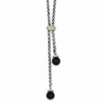 14K Yellow Gold and Silver Onyx & Diamond Lariat Necklace