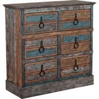 Calypso 6 Drawer Dresser Distressed Painted Fir Wood