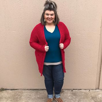 Red Bubble Sweater Cardigan