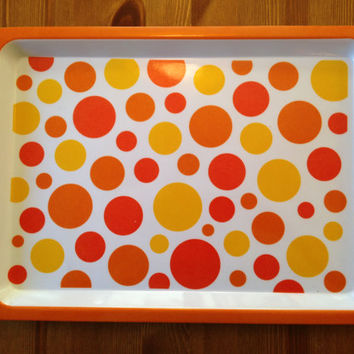 Orange and Yellow Dinner Tray. Circa 1980s. Set of two.