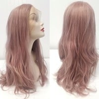 Front Lace Free Part Pastel Rose Pink Coral Champagne Wig Adjustable Cap Straps
