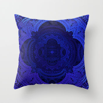 Cobalt Blue Faux Lace Filigree Throw Pillow by CrypticFragments