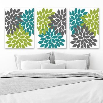 Teal Gray Green Wall Art, Flower Canvas or Prints, Teal Bathroom Decor, Teal Flower Bedroom Pictures, Flower Burst Dahlia Pictures, Set of 3