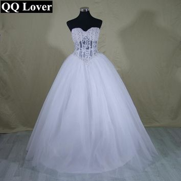 QQ Lover Sexy Perspective Wedding Dresses Ball Gown Pearls Bridal Gown Lace Up Back Tulle Vestido De Noiva