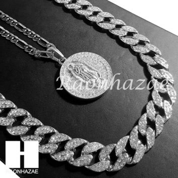 """14k White Gold Guadalupe Pendant 15mm Iced Out Miami Cuban 30"""" Necklace SET 205S"""
