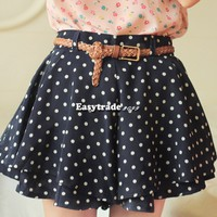 Women High Waist Pleated Dot Polka Chiffon Vintage Short Mini Skirts Dress ESY1