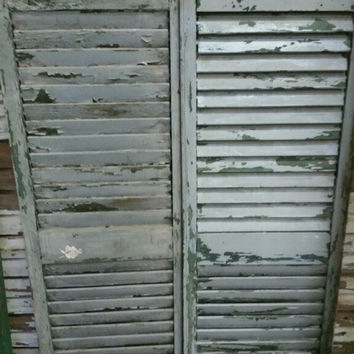 Grey Antique Window Shutters Matching Pair