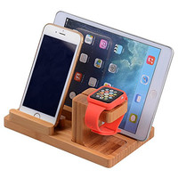 3 in 1 Apple Watch Stand & iPhone Stand & iPad Stand, Smooth Natural Bamboo Desk Charging Dock Station for Apple iWatch,Comfortable Viewing Angle for iPhone 6, iPad Air