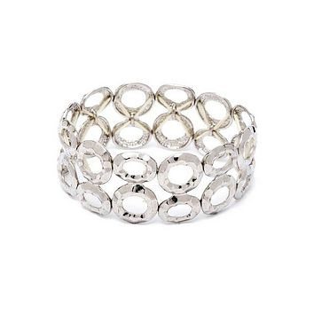 Silver Double Row Circle Stretch Bracelet