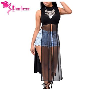 Dear Lover Stylish Woman Vest Party Mesh Patchwork Sleeveless High Side Split Club Top 2017 Summer Long Tanks Camisole LC25857
