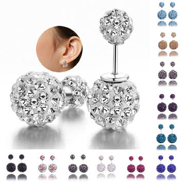 Fashion Womens Lady 925 Sterling Silver Crystal Ball Ear Stud Studded Earrings