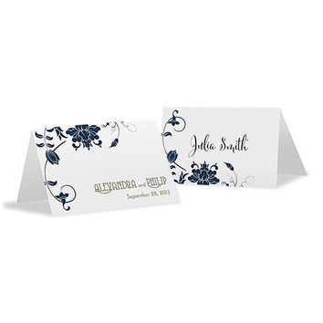 Floral Orchestra Place Card With Fold Vintage Pink (Pack of 1)
