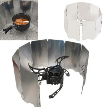 Foldable Mini 9 Plates Cooker BBQ Gas Stove Wind Shield Screen Picnic Outdoor Hot Sale