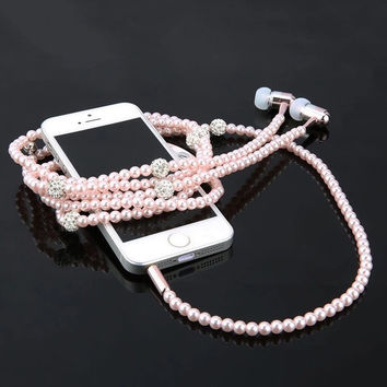 Faux Pearl and Rhinestone Earbuds