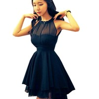 Genluna Women's Bandage Casual Dress Novelty Cute Lace Dresses Peplum Party