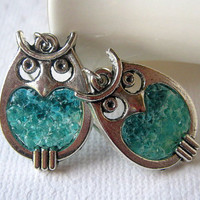 Stained Glass Aquamarine Owl Earrings, Small Owl, Blue Owl, Glass Owl, Tiny Owl, Two Toned, Crystal Owl, Owl Jewelry, Silver Owl,