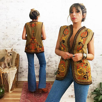 Vintage 1960's Hand EMBROIDERED Woodstock Wool Vest || Ladies Medium