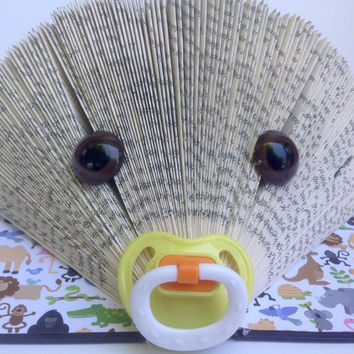 Baby Hedgehog Folded Book, Folded Pages, Baby Shower, Nursery