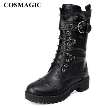 COSMAGIC 2018 New Carved Buckle Women Martin Boots Winter Buckle Strap Vintage Gothic Punk Round Toe Motorcycle Boots Shoes
