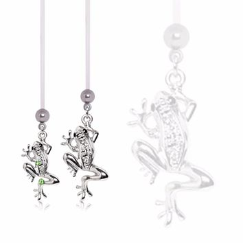 "BioFlex Pregnancy Navel Ring with ""Glass Frog"" Dangle"