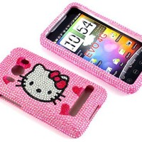 Smile Case Hello Kitty Pink Heart Bling Rhinestone Crysal Jeweled Snap on Full Cover Case for Sprint HTC EVO 4G (EVO-Four Hearts)