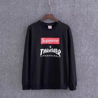 Supreme X Thrasher Women Men Fashion Casual Top Sweater Pullover