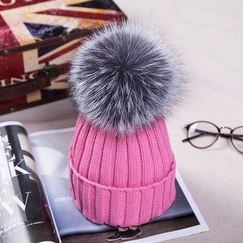 PEAPUNT New  Autumn Winter women cap real fox fur ball hat Pom poms 15CM woollen cap female thick protect ear warm  Beanies Headgear