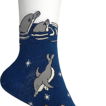Dolphins Crew Socks in Blue