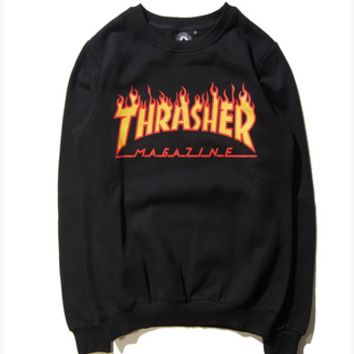 """Thrasher""Couple Casual Pattern Letter Print Loose Blouse Top Sweater Pullover Sweatshirt"