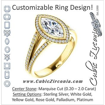 Cubic Zirconia Engagement Ring- The Kay Adaira (Customizable Bezel-set Marquise Cut with Halo and Split-Pavé Band)