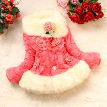 CREYUG3 Korean 2014 kids winter coat Girls padded coat baby Wool Sweater jacket fashion fur baby coat = 1932757892