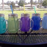 16 oz  Mason Jar Sippy Tumbler with Handle - CHOOSE YOUR COLOR - Milkwash colors -  Bachelorette Party - Baby Showers - Weddings Welcome