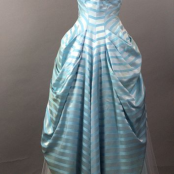 Strapless Candy Stripe Vintage 1950s Ball Gown