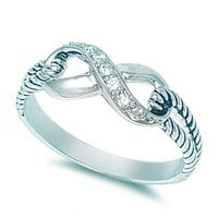 Sterling Silver Infinity Rope Ring with Clear Cubic Zirconia Stones - size 5
