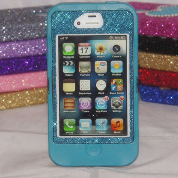 iPhone 4 Glitter Case Cute Sparkly Bling Otterbox Defender Series Custom iPhone 4S Case Teal/Peacock