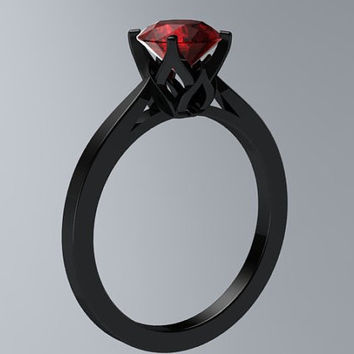 BLOOMING LOVE  Inspired 14k Black Gold Round VVS 1.25ct Ruby Engagement Ring Wedding Ring LRBG4015