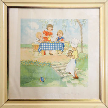 "MAGDA HELLER ""Tea Party"" Vintage 1930's Lithograph Framed 