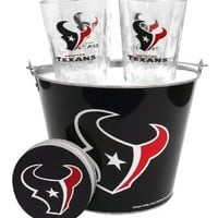 NFL Houston Texans Satin Etch Bucket and 4 Glass Gift Set