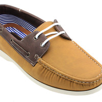 Men's Boat Shoes Lace up Comfort Moccasin - Butterfish Tan