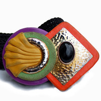 1980s wide abstract belt, Waldorf Creations, leather metal, black orange green,  Size L