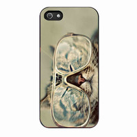 grumpy cat and glasses 79acee14-8f9e-4770-b8bc-a24de0dfaf6e FOR iphone 5S CASE *RA*