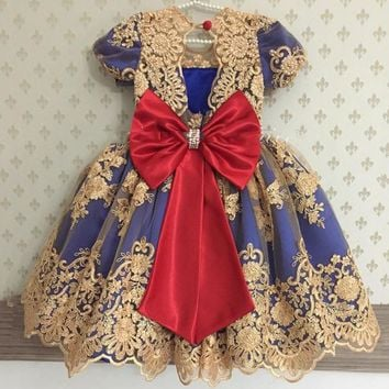 Lovely Gold Appliques Royal Blue Princess Flower Girl Dress 2017 with Big Bow girls communion dresses Celebrity Birthday Dress