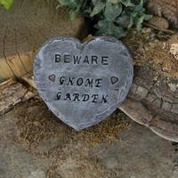 GnOmE Garden Sign Heart Slate Sign.. - miniature ceramic sign Stepping stone