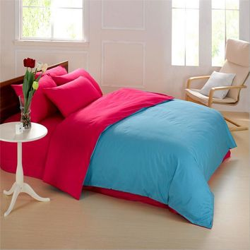 simple design Cotton 4pcs Beding Sets Stitching Color Bedding Clothes Bed Sheets Duvet Cover Simple Design