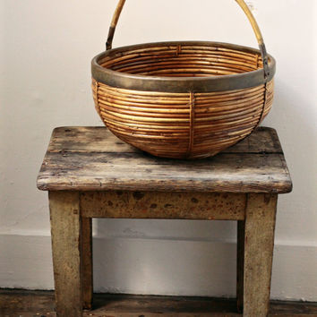 Vintage Rattan Basket - Bamboo Planter or Log Basket