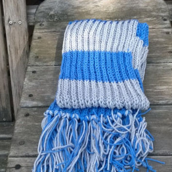 Knitted Scarf - Detroit Football Fan Scarf - Blue and Silver - 6ft - Mens Scarf - Womens Scarf