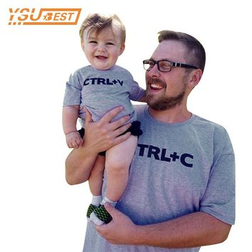 2017 New CTRL C + CTRL V Pattern Family Look Dad Son T Shirts Fashion Family Apparel Children Clothing Family Matching Outfits